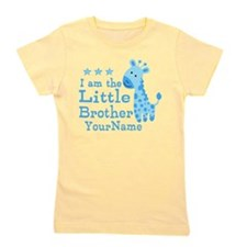 Little Brother Blue Giraffe Personalized Girl's Te