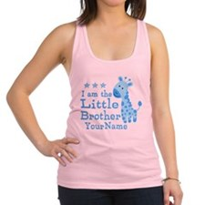 Little Brother Blue Giraffe Personalized Racerback