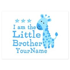 Little Brother Blue Giraffe Personalized 5x7 Flat