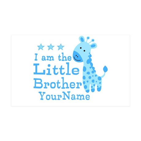 Little Brother Blue Giraffe Personalized 35x21 Wal