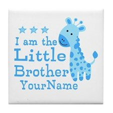 Little Brother Blue Giraffe Personalized Tile Coas