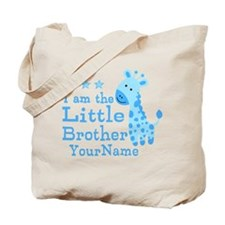 Little Brother Blue Giraffe Personalized Tote Bag