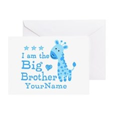 Giraffe Big Brother Personalized Greeting Card