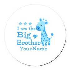 Giraffe Big Brother Personalized Round Car Magnet