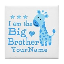 Giraffe Big Brother Personalized Tile Coaster