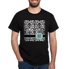 Letter M Black Damask Personal Monogram T-Shirt