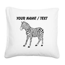 Custom Zebra Silhouette Square Canvas Pillow