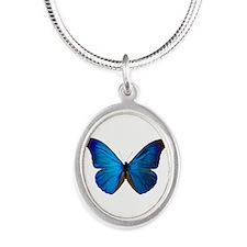 MORPHO RHETENOR D Silver Oval Necklace