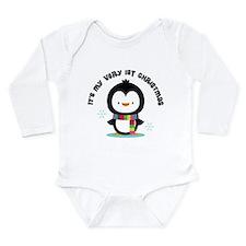 Penguin 1st Christmas Long Sleeve Infant Bodysuit