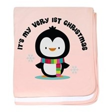 Penguin 1st Christmas baby blanket
