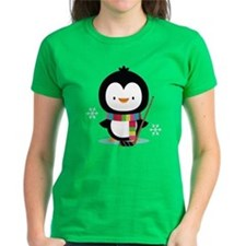 Hockey Christmas Penguin Tee