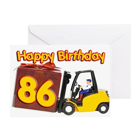 86th birthday card with a fork lift truck Greeting