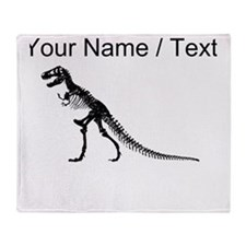 Custom T-Rex Skeleton Throw Blanket
