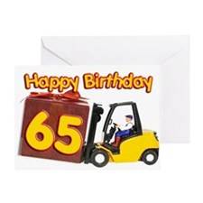 65th birthday card with a fork lift truck Greeting