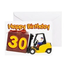30th birthday card with a fork lift truck Greeting