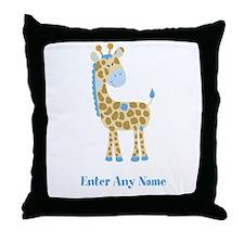 Blue Giraffe Throw Pillow - Add A Name