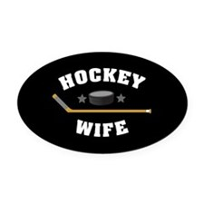 Hockey Wife Oval Car Magnet