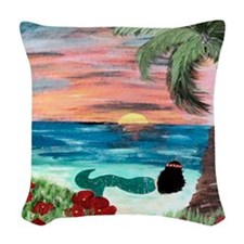 Aloha Mermaid Woven Throw Pillow