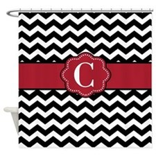 Black Red Chevron Monogram Shower Curtain