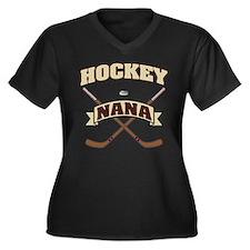 Hockey Nana Women's Plus Size V-Neck Dark T-Shirt
