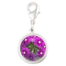 little purple bouquet Silver Round Charm