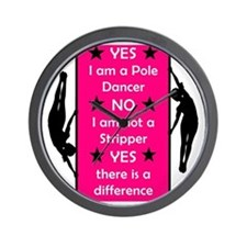 Yes I am a Pole Dancer Pink Wall Clock