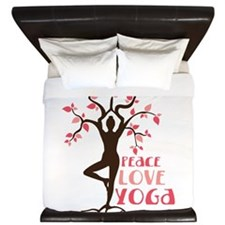PEACE LOVE YOGA King Duvet