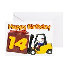 14th birthday card with a fork lift truck Greeting