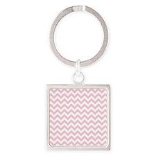 Soft Pink White ZigZag Keychains