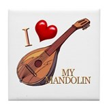 I Love My MANDOLIN Tile Coaster