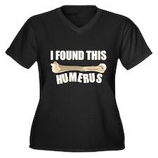 I Found This Humerus Women's Plus Size V-Neck Dark