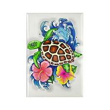 Tropical Sea Turtle Rectangle Magnet