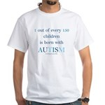 Born With Autism White T-Shirt