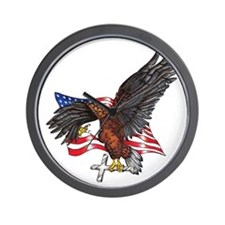 USA Eagle with Cross Wall Clock