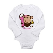 Personalized Monkey Girl 1st Birthday Long Sleeve