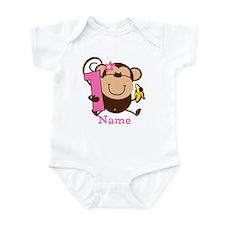 Personalized Monkey Girl 1st Birthday Onesie