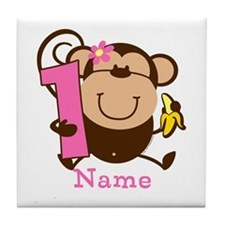 Personalized Monkey Girl 1st Birthday Tile Coaster