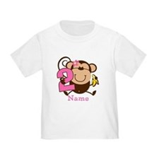 Personalized Monkey Girl 2nd Birthday T