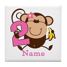 Personalized Monkey Girl 2nd Birthday Tile Coaster