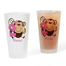 Personalized Monkey Girl 2nd Birthday Drinking Gla