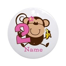 Personalized Monkey Girl 2nd Birthday Ornament (Ro