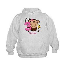 Personalized Monkey Girl 3rd Birthday Hoodie