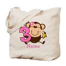Personalized Monkey Girl 3rd Birthday Tote Bag