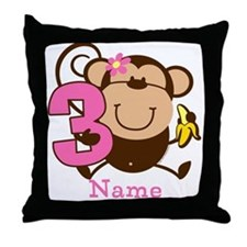 Personalized Monkey Girl 3rd Birthday Throw Pillow