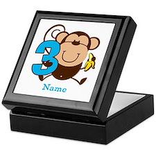 Personalized Monkey Boy 3rd Birthday Keepsake Box