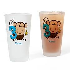 Personalized Monkey Boy 3rd Birthday Drinking Glas