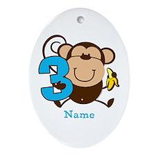 Personalized Monkey Boy 3rd Birthday Ornament (Ova