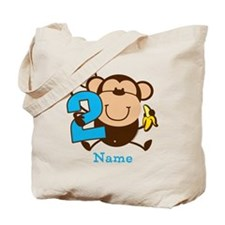 Personalized Monkey Boy 2nd Birthday Tote Bag