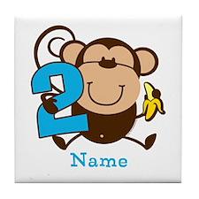 Personalized Monkey Boy 2nd Birthday Tile Coaster