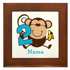 Personalized Monkey Boy 2nd Birthday Framed Tile